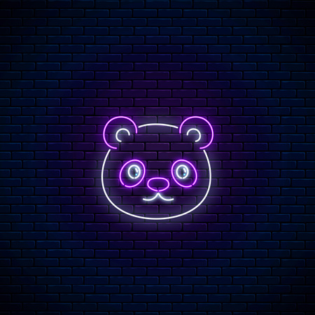 Glowing neon sign of cute panda in kawaii style on dark brick wall background. Cartoon happy smiling panda in neon style. Vector illustration. Çizim