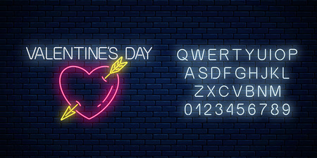 Glowing neon valentines day sign with heart shape and arrow with alphabet on dark brick wall background. Vector illustration of valentine day greeting card in neon style.