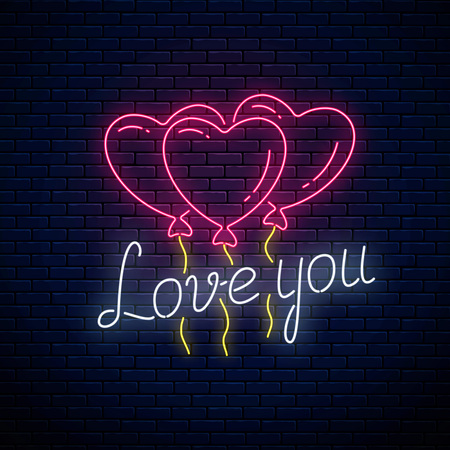 Glowing neon sign of valentines day with heart shape balloons and love you text on dark brick wall background. Vector illustration of valentine day greeting card in neon style.