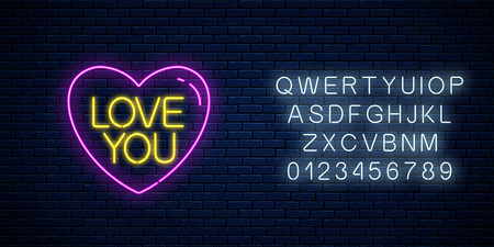 Love you text in heart shape with alphabet in neon style. Happy Valentines Day neon glowing festive sign on a dark brick wall background. Holiday greeting card with lettering. Vector illustration.