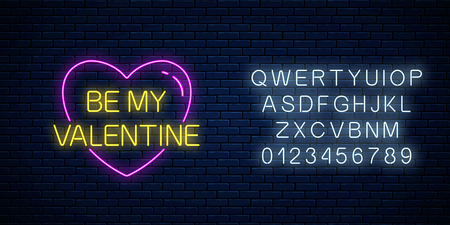 Be my Valentine text in heart shape with alphabet in neon style. Happy Valentines Day neon glowing festive sign on brick wall background. Holiday greeting card with lettering. Vector illustration. Çizim