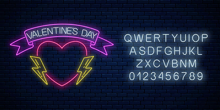 Glowing neon valentines day sign with heart shape with award ribbon, lightnings and alphabet on dark brick wall background. Vector illustration of valentine day greeting card in neon style.
