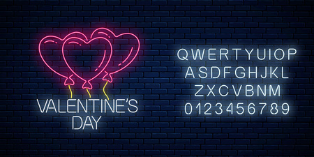 Glowing neon sign of valentines day with heart shape balloons and alphabet on dark brick wall background. Vector illustration of valentine day greeting card in neon style.