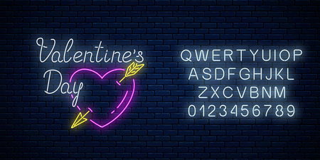 Glowing neon alphabet and sign of valentines day with heart shape with arrow on dark brick wall background. Vector illustration of valentine day greeting card in neon style.