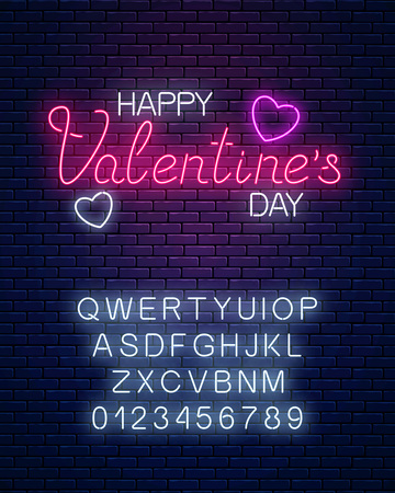 Glowing neon happy valentines day text with heart shapes and alphabet on dark brick wall background. Vector illustration of valentine day greeting card with lettering in neon style. Çizim