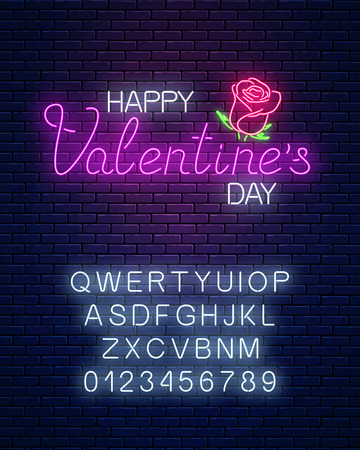 Glowing neon happy valentines day text with rose flower on dark brick wall background. Vector illustration of valentine day greeting card with alphabet in neon style.