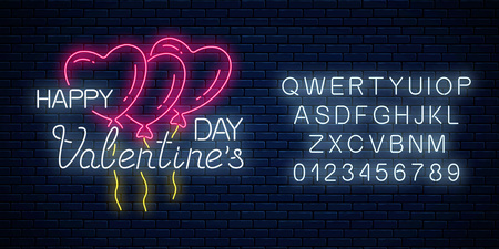 Glowing neon sign of valentines day with heart shape balloons and alphabet on dark brick wall background. Vector illustration of happy valentine day greeting card in neon style. Çizim