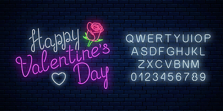 Glowing neon happy valentines day text with rose flower and heart shape with alphabet on dark brick wall background. Vector illustration of valentine day greeting card with lettering in neon style.