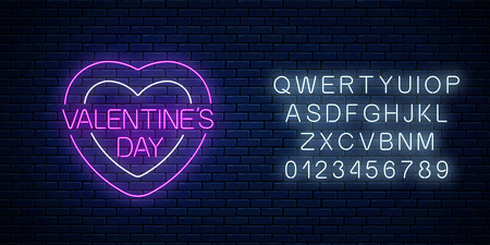 Glowing neon valentines day sign with heart shapes and alphabet on dark brick wall background. Vector illustration of valentine day greeting card in neon style.