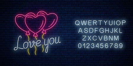 Glowing neon sign of valentines day with heart shape balloons and love you text with alphabet on dark brick wall background. Vector illustration of valentine day greeting card in neon style. Çizim