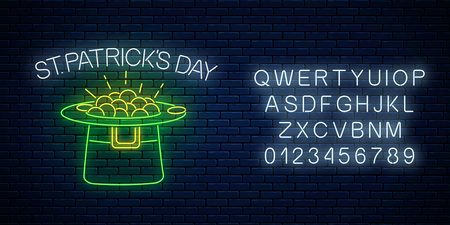Neon glowing sign of leprechaun hat with gold with alphabet on a dark brick wall background. Green hat with treasure as Ireland national holiday symbol. Vector illustration.