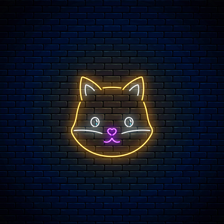 Glowing neon sign of cute fox in kawaii style on dark brick wall background. Cartoon happy smiling foxy in neon style. Vector illustration.