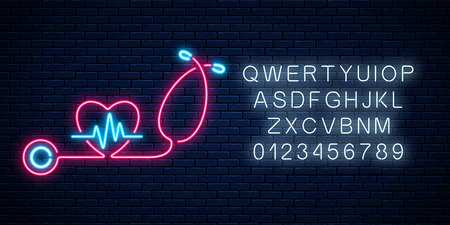 Glowing neon medicine concept sign with cardiogram graph in heart shape and stethoscope. Drugstore or hospital luminous advertising signboard with alphabet. Vector illustration.