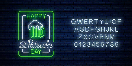 Glowing neon green beer pub with celebrating saint patrick day signboard in rectangle frames with alphabet on brick wall background. Luminous advertising sign of night club. Vector illustration.