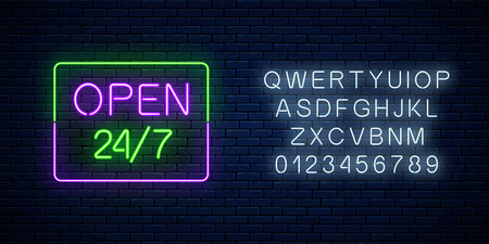 Neon open 24 hours 7 days a week sign in rectangle shape with alphabet on a brick wall background. Round the clock working bar or night club signboard with lettering. Vector illustration. Illustration
