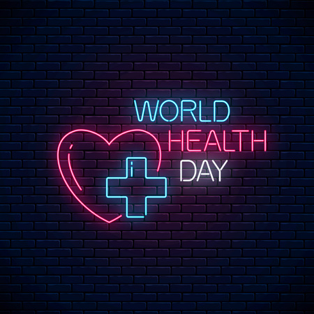 Glowing neon medicine concept sign with medicine cross in heart shape on a brick wall background. World Health Day banner, symbol. Vector illustration. Foto de archivo - 124747555