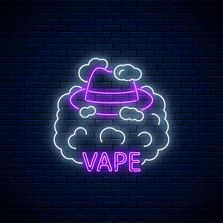 Neon signboard of vape shop or club on dark brick wall background. Glowing neon sign with man hat in vape smoke. Vaping shop symbol. Vector illustration.
