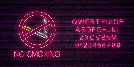 Glowing neon sign no smoking with alphabet on dark brick wall of nightclub or bar. Ban on nicotine and smoke cigarettes. Signboard of no smoking place. Vector illustration.