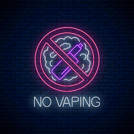 Glowing neon no vaping sign on dark brick wall background. Vape free area symbol. Signboard of no smoking place. Vector illustration.
