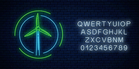 Glowing neon sign of windmill in circle frames with alphabet on dark brick wall background. Ecology wind power generation concept. Wind turbine neon symbol. Vector illustration.