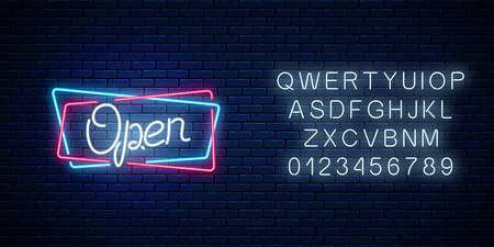 Neon open hand drawn sign in geometric shapes with alphabet on a brick wall background. Round the clock working bar. Opening store advertising symbol. Vector illustration. Stock Illustratie