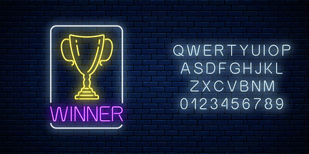 Glowing neon sign with award cup in rectangle frame with alphabet on dark brick wall background. Winner cup honorary trophy neon symbol. Vector illustration.