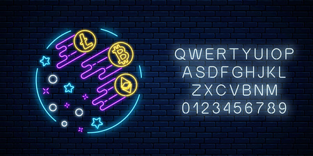 Neon sign of three crypto-currencies are growing up very fast. Cryptocurrency grow emblem with star shapes in circle frame with alphabet on dark brick wall background. Vector illustration.