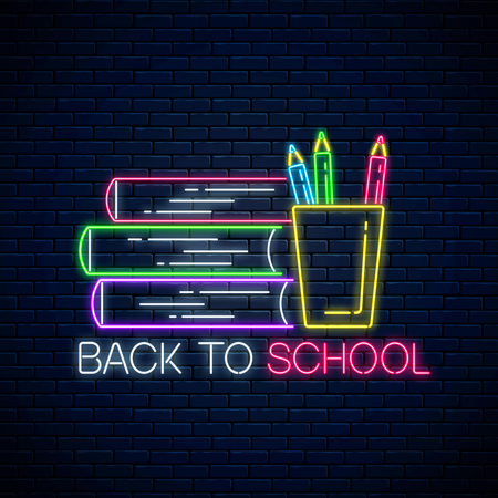 Neon banner with back to school text, book and pencils. Glowing neon sign with school supplies. Welcome back to school design. Vector illustration. Illustration
