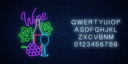 Neon glowing sign of wine store in circle frame with alphabet on dark brick wall background. Bunch of grapes with bottle, glass of wine and leaves in round border. Vector illustration. Ilustração