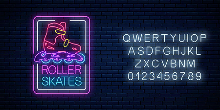 Roller skates glowing neon sign in rectangle frames with alphabet on dark brick wall background. Skate zone symbol in neon style. Vector illustration.