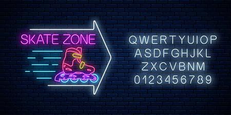 Zona di skate incandescente insegna al neon con freccia guida e alfabeto sul fondo del muro di mattoni scuri. Simbolo del noleggio di pattini a rotelle in stile neon. Illustrazione vettoriale.