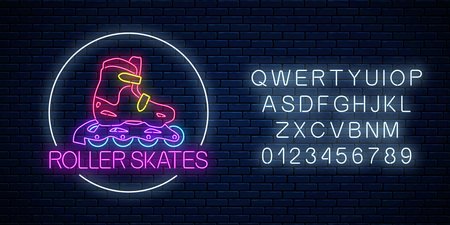 Roller skates glowing neon sign in circle frame with alphabet on dark brick wall background. Skate zone symbol in neon style. Roller skates rent logo. Vector illustration.