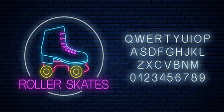 Retro roller skates glowing neon sign in circle frame with alphabet on dark brick wall background. Skate zone symbol in neon style. Roller skates rent logo. Vector illustration. Illustration