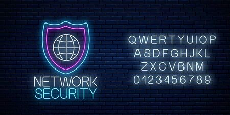 Network security glowing neon sign with alphabet on dark brick wall background. Internet protection symbol with shield and globe. Vector illustration.