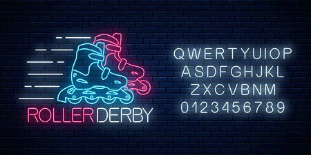 Roller derby glowing neon sign and alphabet on dark brick wall background. Roller skates competition symbol in neon style. Vector illustration. Çizim