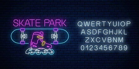 Skatepark glowing neon sign with alphabet on dark brick wall background. Skating on skateboard and rollers zone symbol in neon style. Skateboard rent logo. Vector illustration.