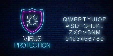 Virus protection glowing neon sign with alphabet on dark brick wall background. Internet cyber security symbol with shield and hacker bug. Vector illustration.