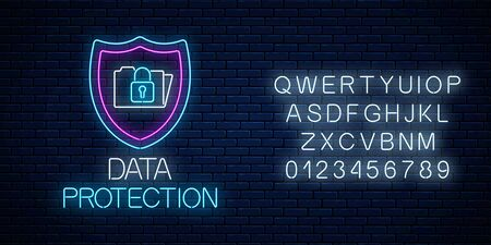 Data protection glowing neon sign with alphabet on dark brick wall background. Internet cyber security symbol with shield, folder and lock. Vector illustration.