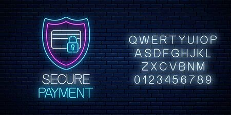 Secure payment glowing neon sign with alphabet on dark brick wall background. Payment protection symbol with shield and credit card with lock. Vector illustration. Çizim