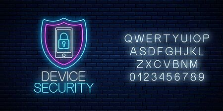 Device secure glowing neon sign with alphabet on dark brick wall background. Cyber security symbol with shield and mobile device with lock. Vector illustration.