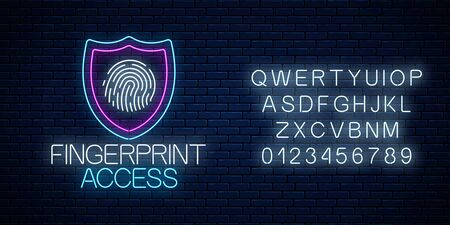Fingerprint access glowing neon sign with alphabet on dark brick wall background. Cyber security symbol with shield and fingerprint. Vector illustration.