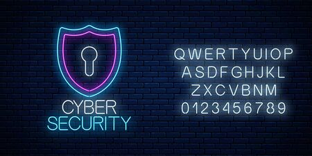 Cyber security glowing neon sign with alphabet on dark brick wall background. Internet protection symbol with shield and keyhole. Vector illustration.