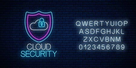 Cloud service security glowing neon sign with alphabet on dark brick wall background. Internet protection symbol with shield, cloud and padlock. Vector illustration. Çizim
