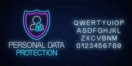 Personal data protection glowing neon sign with alphabet on dark brick wall background. Internet cyber security symbol with shield, man silhouette and padlock. Vector illustration.