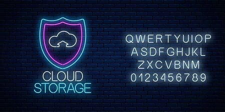 Cloud storage service glowing neon sign with alphabet on dark brick wall background. Internet technology symbol with shield and cloud. Vector illustration.