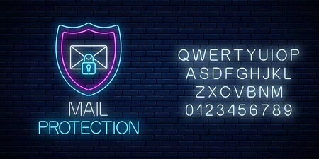 E-mail protection glowing neon sign with alphabet on dark brick wall background. Cyber security symbol with shield, letter and padlock. Vector illustration. Vettoriali