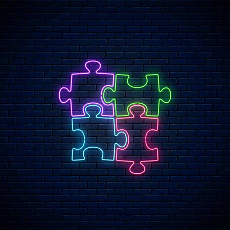 Neon puzzle pieces. Glowing neon icon of logical concept on dark brick wall background. Thinking game symbol. Vector illustration.