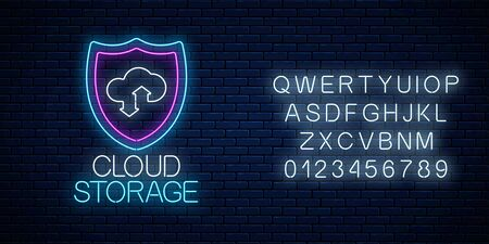 Cloud storage service glowing neon sign with alphabet on dark brick wall background. Internet technology symbol with shield, cloud and arrows. Vector illustration.