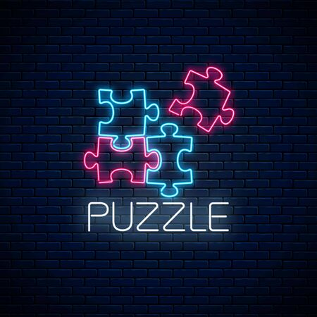Neon puzzle pieces. Solve puzzle game. Glowing neon icon of logical concept on dark brick wall background. Thinking game symbol. Vector illustration.