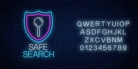 Safe web search service glowing neon sign with alphabet on dark brick wall background. Internet technology symbol with shield. Vector illustration. Çizim